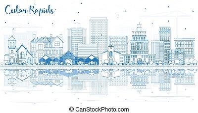 ヒマラヤスギ, 急流, reflections., 建物, スカイライン, アウトライン, アイオワ, 青