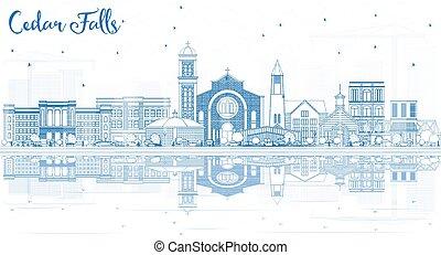 ヒマラヤスギ, reflections., 落ちる, 建物, スカイライン, アウトライン, アイオワ, 青