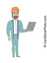 ヒンズー教信徒, ビジネスマン, laptop., 使うこと
