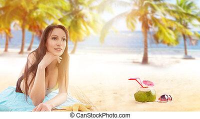 ビキニ, 女, 日当たりが良い, 弛緩, 浜。