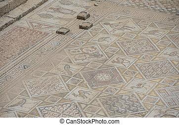 ビザンティウム, 床, jerash, ヨルダン, 教会, 台なし, モザイク