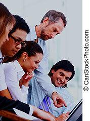 ビジネスが会合する, -, マネージャー, 論じる, 仕事, ∥で∥, 彼の, 同僚。