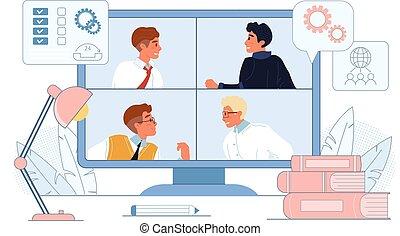 ビジネスの会議, ミーティング, オンラインで, webinar, ビデオ
