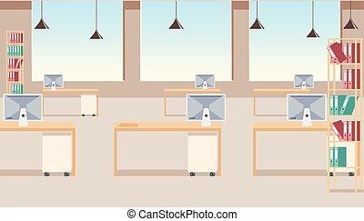 ビジネスオフィス, 会社, 現代, ベクトル, 内部