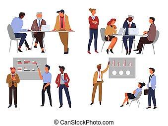 ビジネスオフィス, 労働者, 隔離された, チームワーク, 特徴, co-working, 協力
