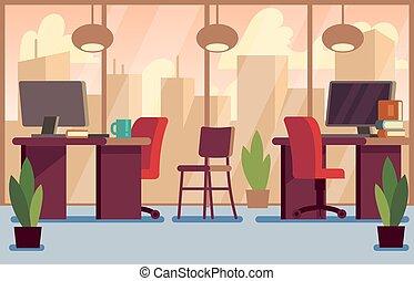 ビジネスオフィス, 現代, イラスト, ベクトル, 内部, 流行, 企業である