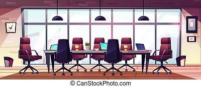 ビジネスオフィス, 現代, ベクトル, ミーティング, 漫画, 部屋