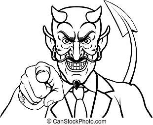 ビジネスマンのスーツ, 悪魔, 指すこと, 悪