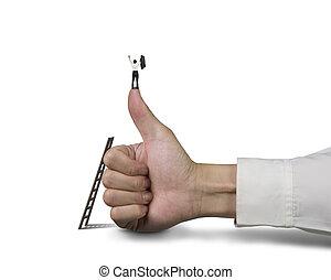 ビジネスマンの地位, の上, 親指, ∥で∥, 2, 手アップ