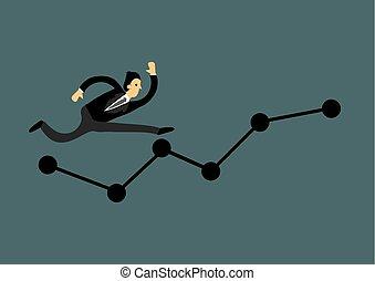 ビジネスマンランニング, graph., achievement., ビジネス 成長, ベクトル, illustration., 概念
