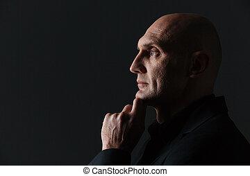 ビジネスマン, あご, 考え, プロフィール, 魅力的, 思いやりがある, 彼の, 感動的である