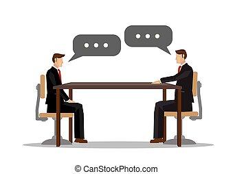 ビジネスマン, ∥あるいは∥, 共同, それぞれ, communication., 2, 概念, 企業である, 他, ミーティング, オフィス。, 話し