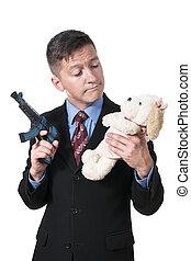 ビジネスマン, おもちゃの銃, プラシ天