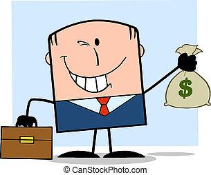 ビジネスマン, お金, 保有物袋