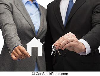 ビジネスマン, そして, 女性実業家, 保有物, ホワイトハウス