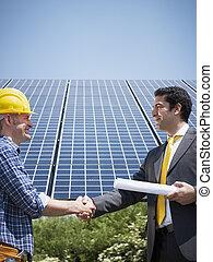 ビジネスマン, そして, 電気技師, 揺れている手