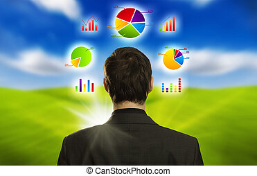 ビジネスマン, ∥で∥, 社会, ネットワーク, アイコン, 浮く, のまわり, 彼の, 頭