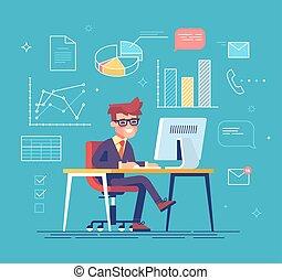 ビジネスマン, の後ろ, 彼の, 仕事, computer.