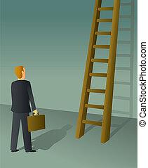 ビジネスマン, はしご, 企業である