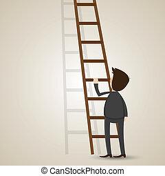 ビジネスマン, はしご, 漫画