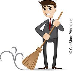 ビジネスマン, ほうき, 漫画, 清掃