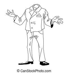 ビジネスマン, イメージ, 漫画, 頭のない
