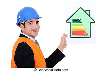 ビジネスマン, エネルギー, 保有物, 消費, ラベル