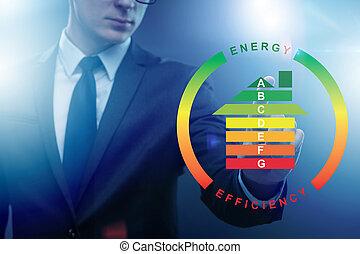 ビジネスマン, エネルギー, 概念, 効率