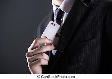 ビジネスマン, エース, カード
