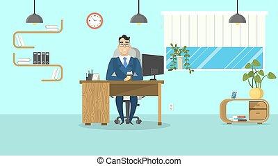 ビジネスマン, オフィス。