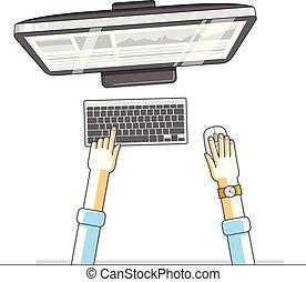 ビジネスマン, オフィス, 仕事, pc, look., 上, 労働者, ワークスペース, 企業家, ベクトル, 間接費, 人間, 机, コンピュータ, 光景, 手, ∥あるいは∥, illustration.
