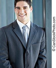 ビジネスマン, クローズアップ, 若い, 肖像画