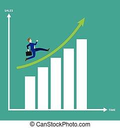 ビジネスマン, グラフ, 成長, バー, 動くこと