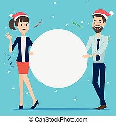 ビジネスマン, グループ, 板, 保有物, クリスマス