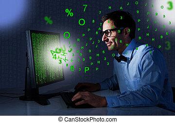 ビジネスマン, コンピュータ, オフィス, 使うこと