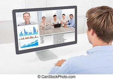 ビジネスマン, コンピュータ, ビデオ会議