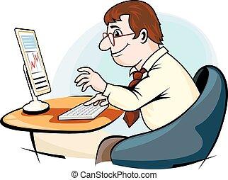 ビジネスマン, コンピュータ, 仕事