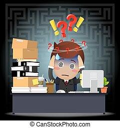 ビジネスマン, コンピュータ, 混乱させられた, 仕事, 机