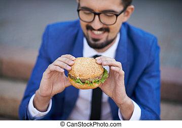 ビジネスマン, サンドイッチ, 食べること