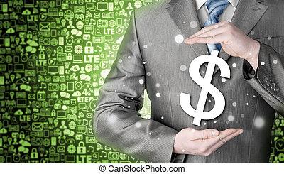 ビジネスマン, シンボル, ドル, 保護