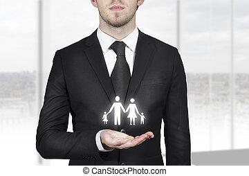 ビジネスマン, シンボル, 保有物, 家族, 手
