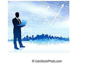 ビジネスマン, スカイライン, グラフ