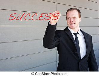 ビジネスマン, スクリーン, 単語, 成功, 執筆