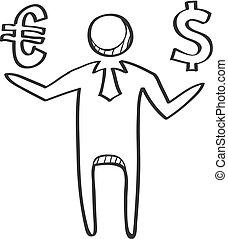 ビジネスマン, スケッチ, -, ドル, アイコン