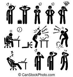 ビジネスマン, ストレス, オフィス, 圧力