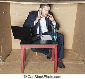 ビジネスマン, ストレス, リードした, へ, アルコール中毒