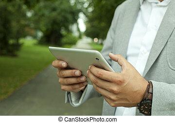 ビジネスマン, タブレット, デジタル