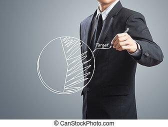 ビジネスマン, ターゲット, チャート, 図画
