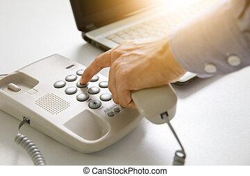 ビジネスマン, ダイヤル, デジタル, 電話, ∥で∥, オフィス, 背景