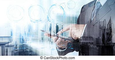 ビジネスマン, ダブル, 技術, ショー, さらされること, 現代, concep